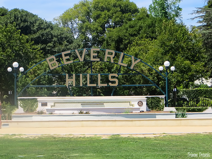 Beverly Hills park sign on Santa Monica Boulevard Los Angeles California