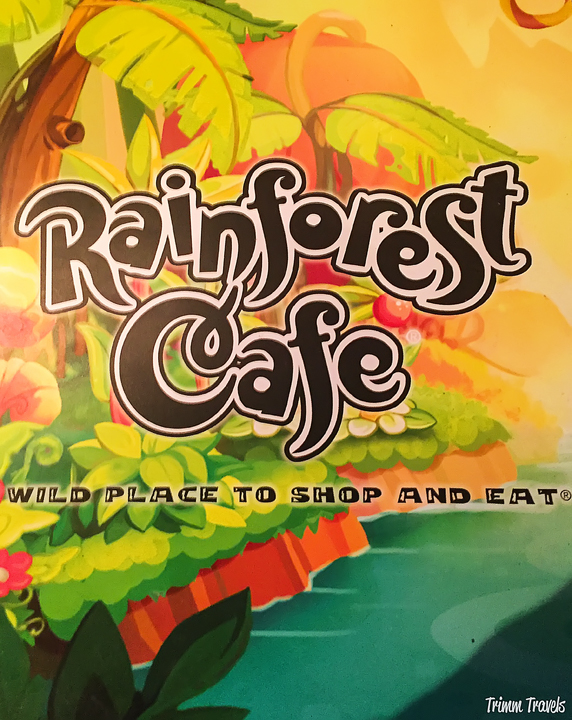 Cover of the Rainforest Cafe menu at Disney Village in Anaheim Los Angeles California