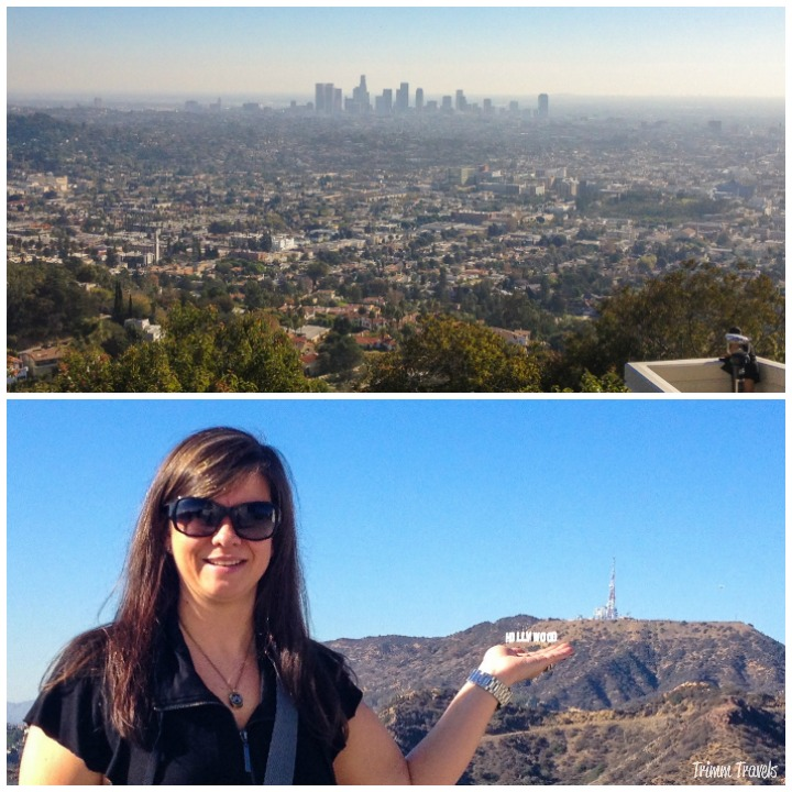 """Collage of downtown Los Angeles California on top and me """"holding up"""" the Hollywood Sign on the bottom"""