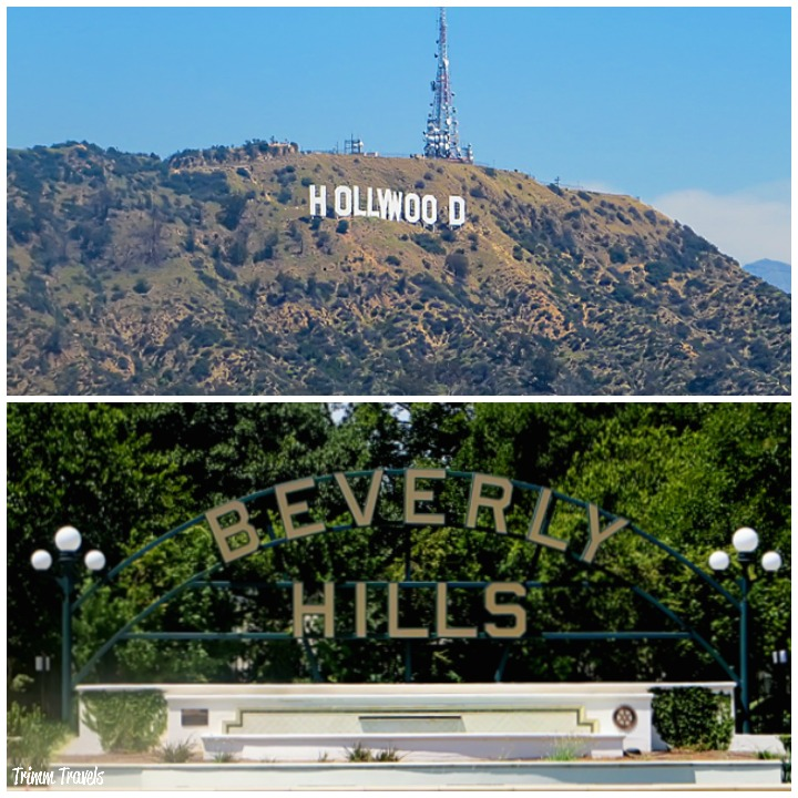 collage shot of the Hollywood Sign on top and the Beverly Hills sign on bottom Los Angeles California