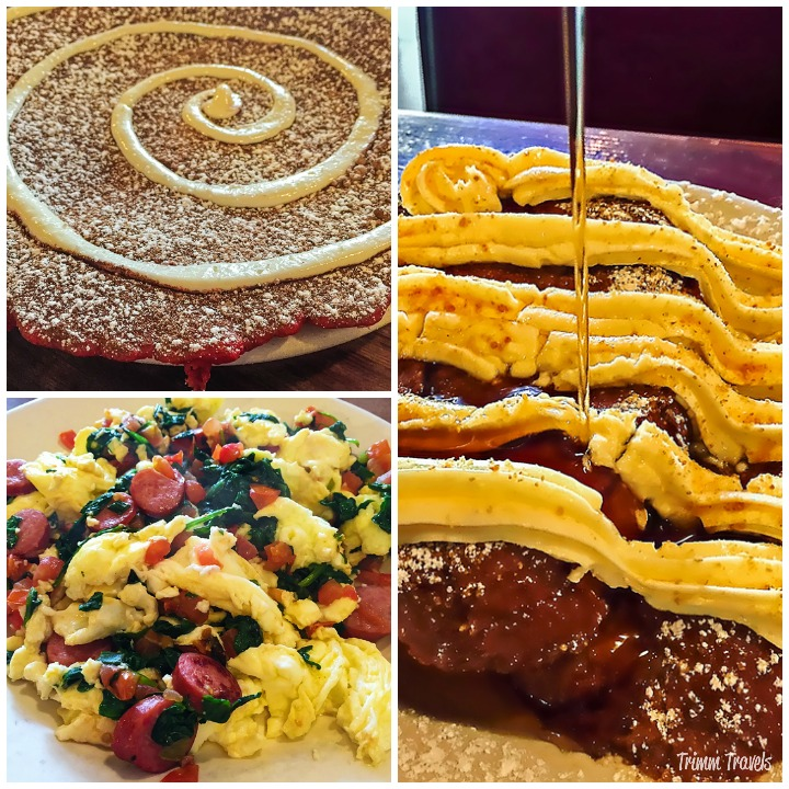 Collage of Red Velvet panCAKE, Muscle Bound Scramble and Creme la Creme French Toast from The Griddle Los Angeles California