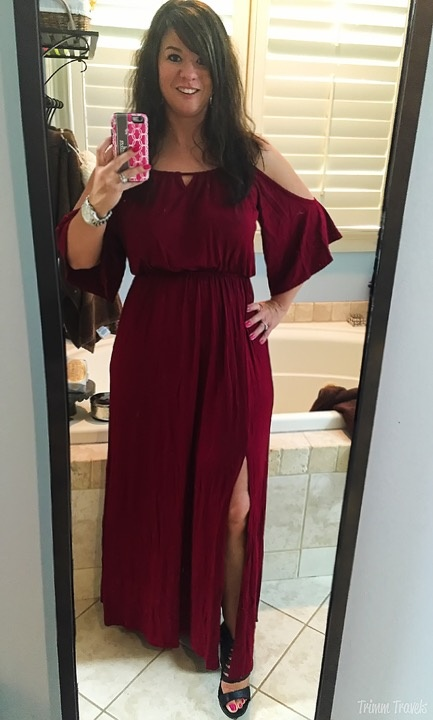 Fall Cold Shoulder Wine Maxi Dress