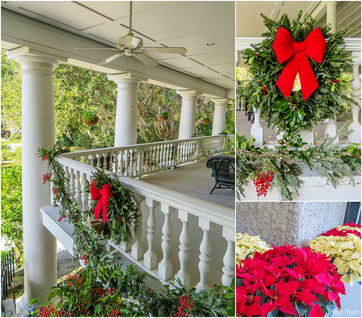 photo collage of house Christmas decorations Magnolia Plantation Charleston