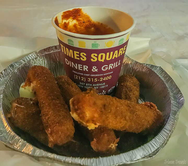 mozzarella cheese sticks from Times Square Diner & Grill in New York City
