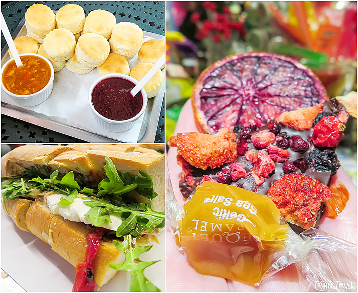 collage of biscuits with marmalades, dried fruit and candy and Italian sandwich from food tour in New York City