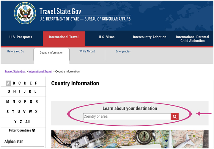 screenshot of where to select your country for visa information-Travel Visa
