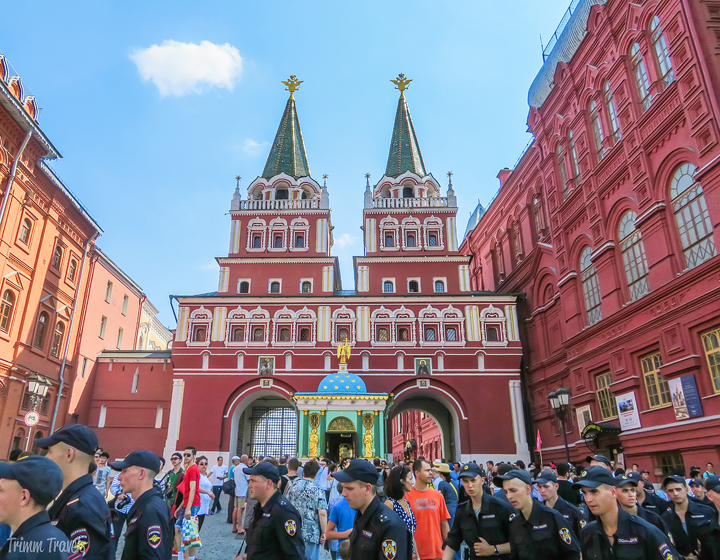 looking at the entrance arches from outside the Red Square Moscow Russia