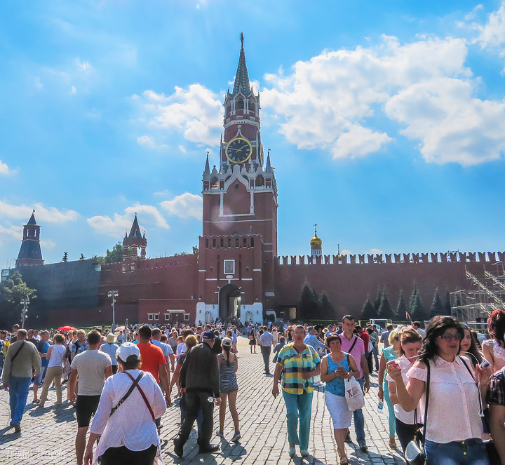 Spasskaya Tower from inside the Red Square Moscow Russia