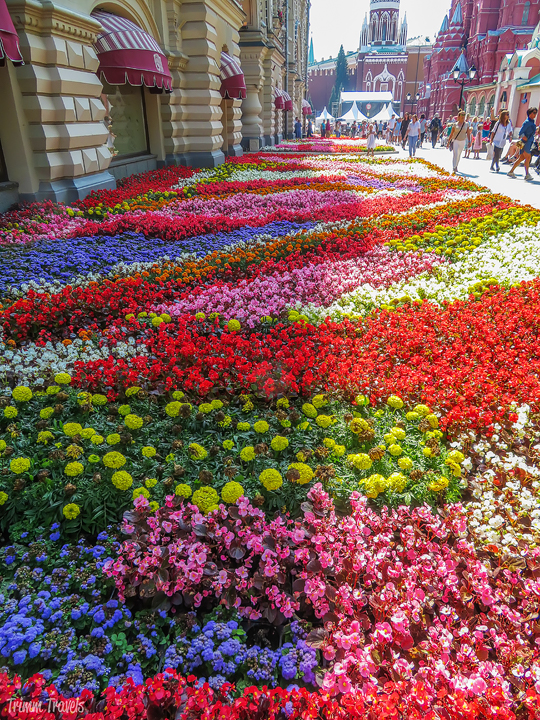 maze of colorful flowers outside the entrance to GUM in Red Square Moscow Russia