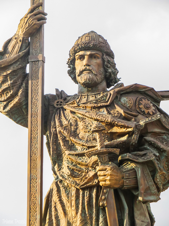 closeup view of Monument to Prince Vladimir Moscow Russia