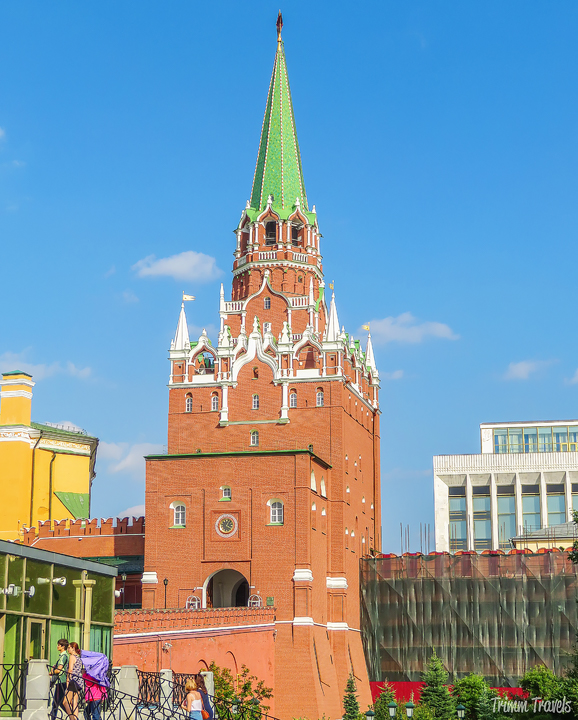 back of the Trinity Tower Moscow Russia