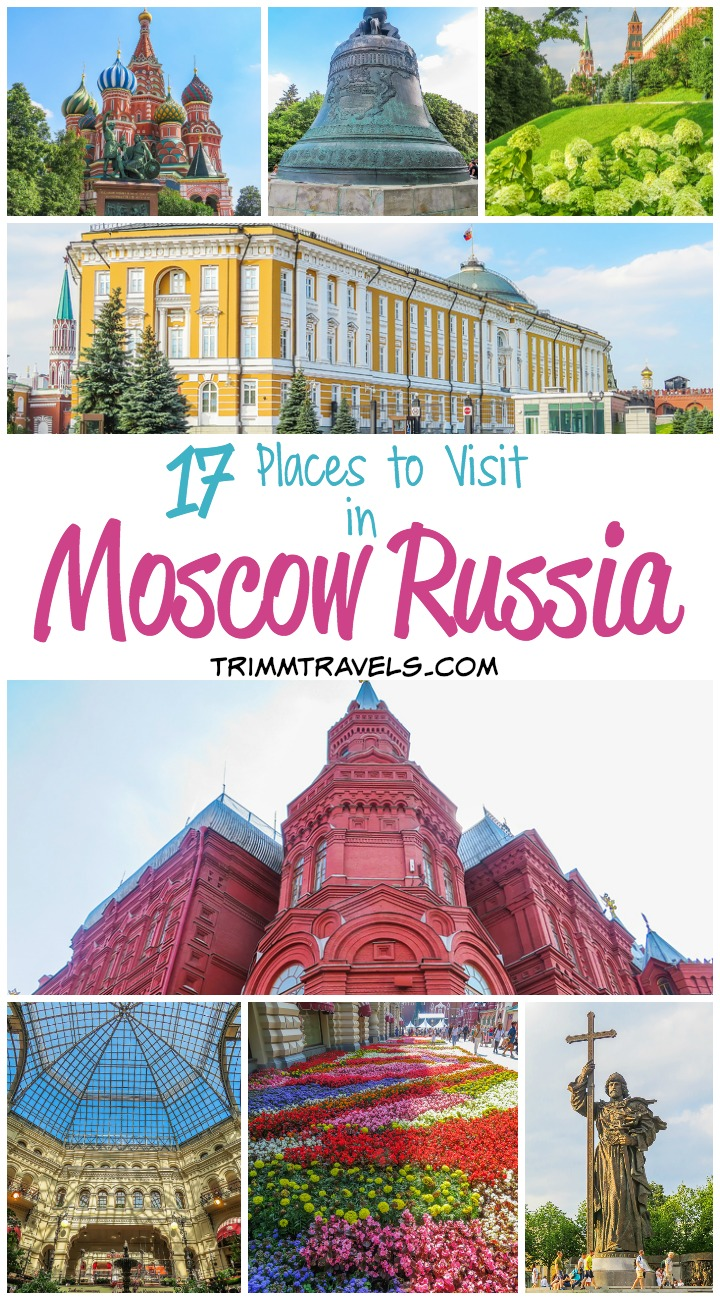 Title Pin with blog title for Pinterest Places to Visit in Moscow Russia