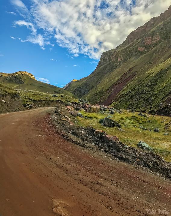 winding dirt road to Rainbow Mountain Peru