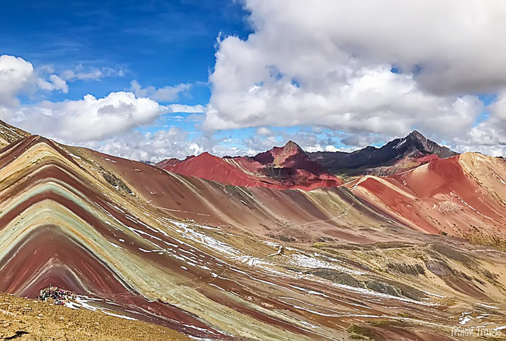 panoramic shot of Rainbow Mountain Peru from the highest viewing point