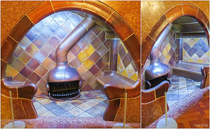 the mushroom pod shaped fireplace sitting area in Casa Batllo A Gaudi Barcelona Tour