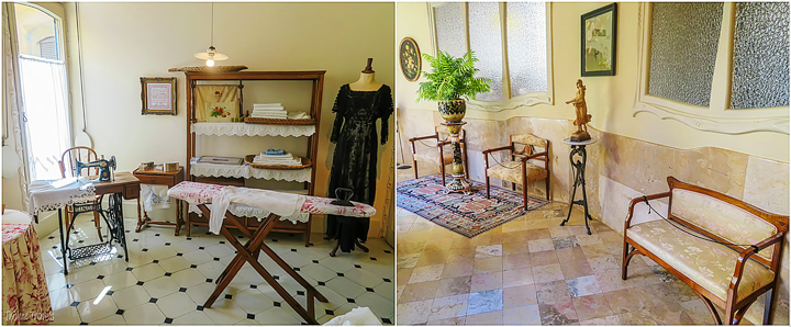collage of sewing room and sitting area in hallway in La Pedrera A Gaudi Barcelona Tour