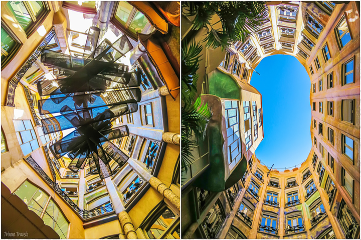collage of looking up in the courtyards of La Pedrera A Gaudi Barcelona Tour