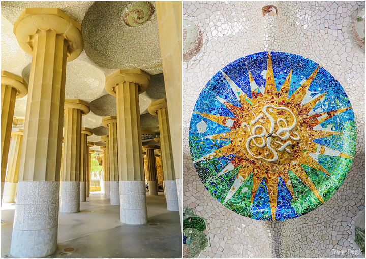 collage of the columns at the mosaic ceiling medallions in Park Güell A Gaudi Barcelona Tour