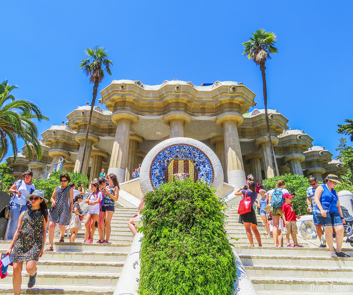 looking back up at the Monumental Zone from below in Park Güell A Gaudi Barcelona Tour