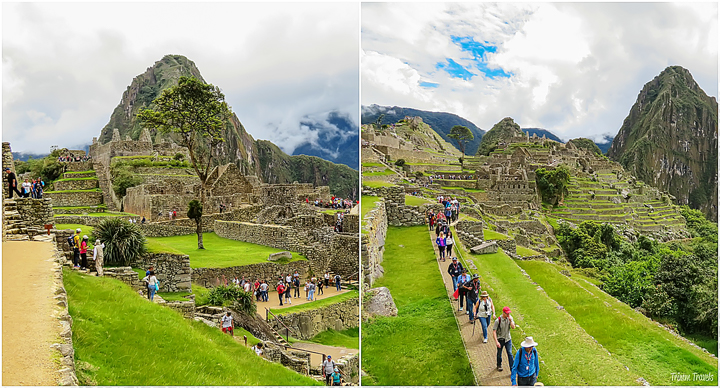 collage of pathways in machu picchu peru
