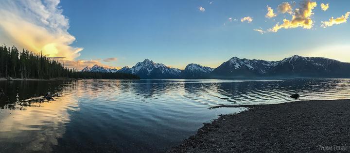 sunset at jackson lake in grand teton
