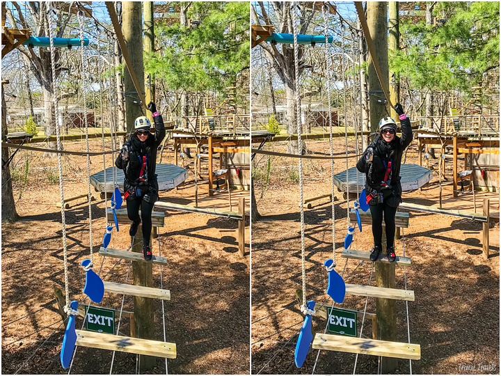 collage of me on the Swiss Fish obstacle course