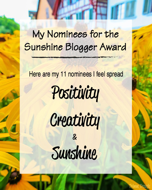 I am so excited to have been nominated for the Sunshine Blogger Award, given to bloggers by bloggers for their sense of positivity, creativity and sunshine! #sunshinebloggeraward #sunshine #blogger #award #positivity #creativity
