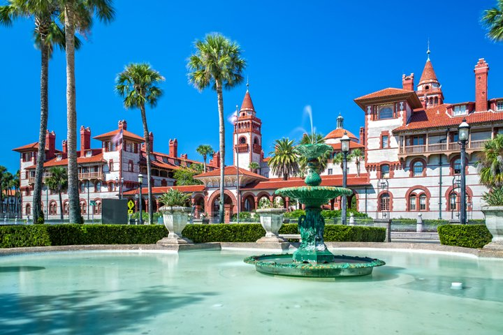 Flagler College against a bright blue sky in St Augustine Florida