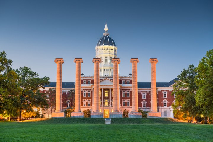 Jesse Hall and The Columns at the University of Missouri at twilight