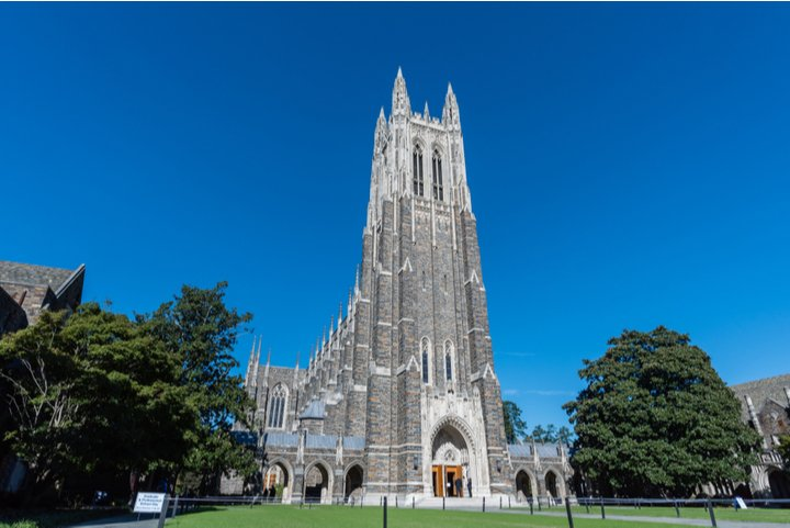 Famous Duke Chapel against a bright blue sky at Duke University in North Carolina