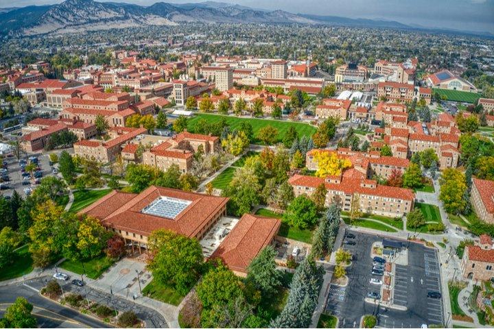 Aerial view of University of Colorado Boulder