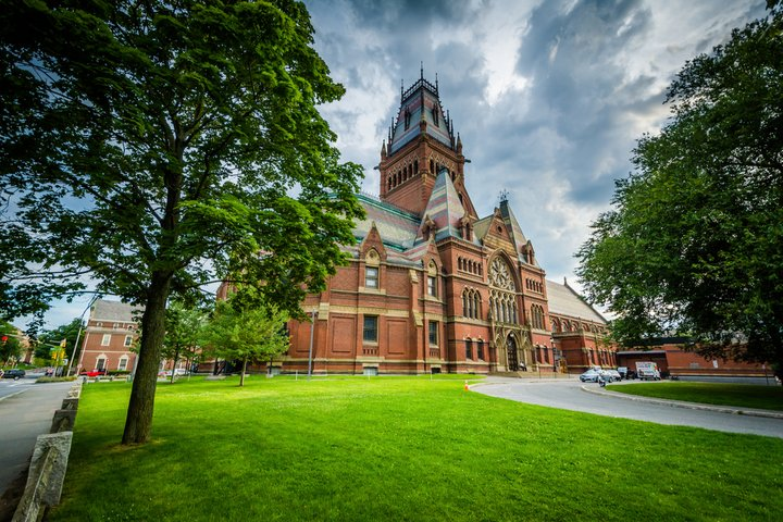 Memorial Hall with its colorful roof at Harvard University in Cambridge Massachusetts