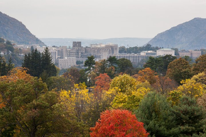 View of The United States Military Academy at West Point in the fall from hiking trails