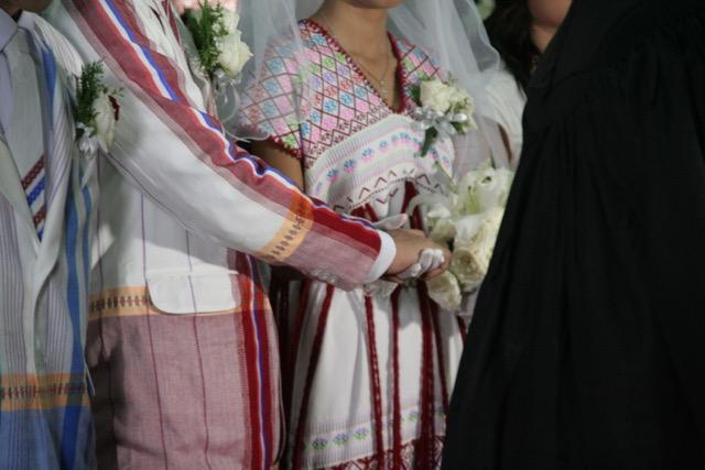 Baptist wedding ceremony. Beautiful Kayin dress made by grandmother.