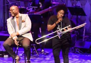 Kensa James sings to her trombone