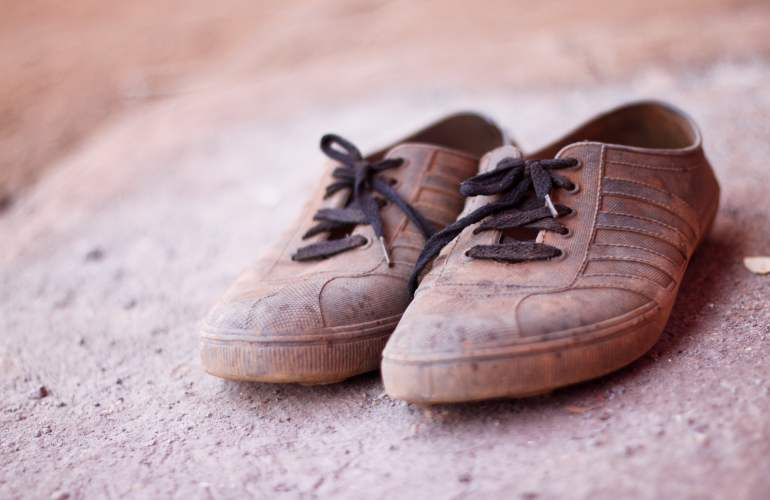 Brown rubber shoes