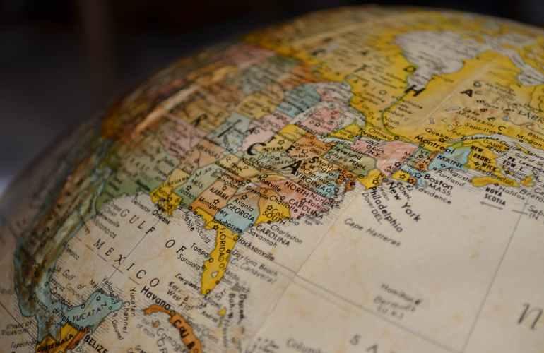 Globe showing America.