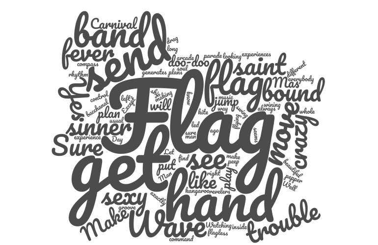 Lord Kitchener Flag Women in a Word Cloud.