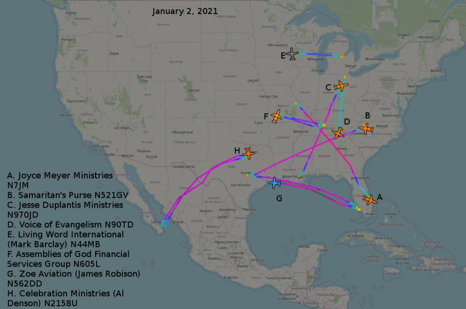 Map showing ministry aircraft flights on January 2, 2021.