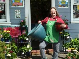 Betty hefting lightweight resin pottery