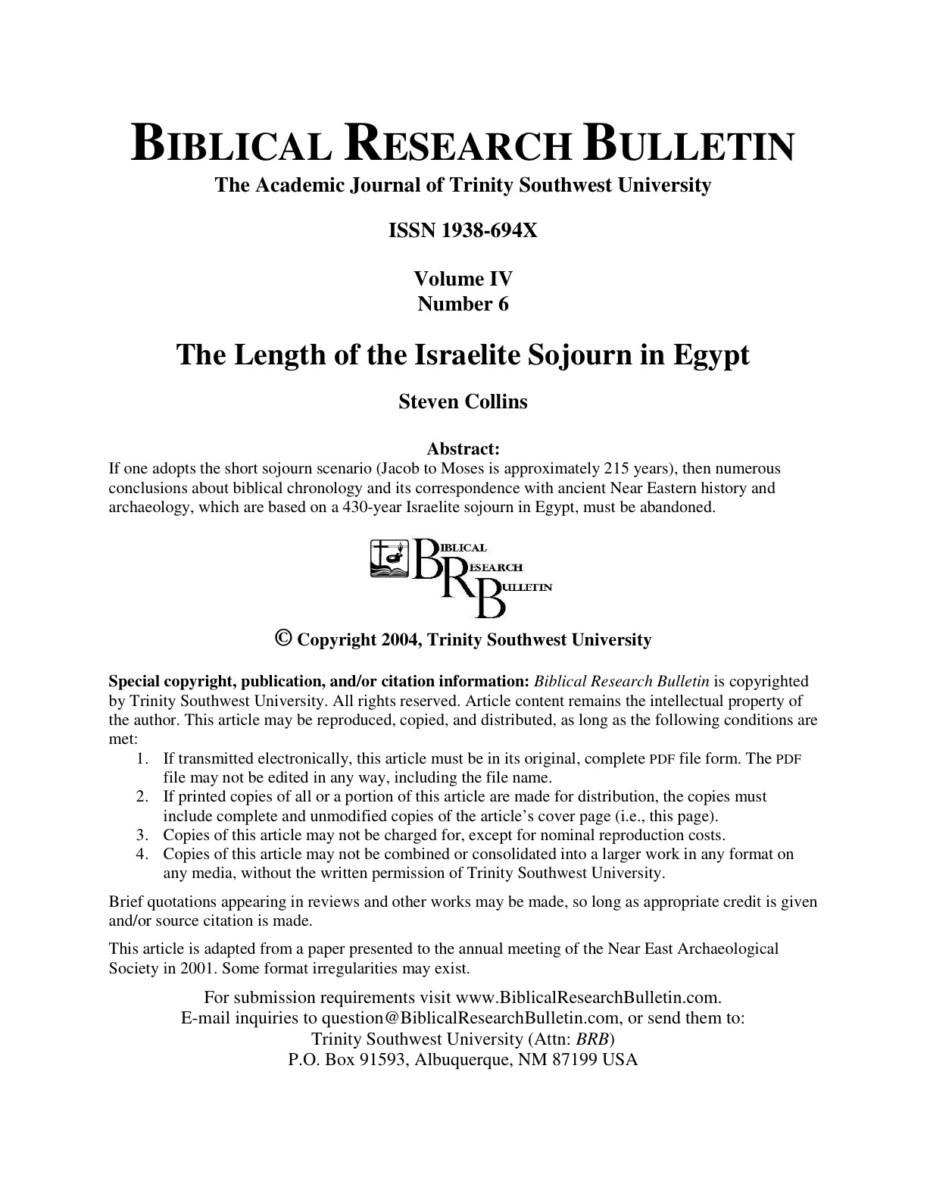 The Length of the Israelite Sojourn in Egypt - Trinity Southwest University