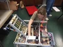 Megan testing the robot