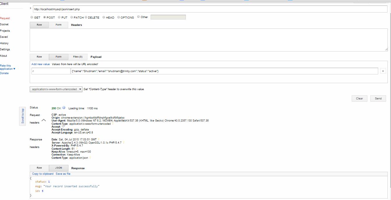 Accept Encoding Json