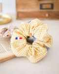 Chouchou coloris Vichy Moutarde - Trinquette Artisanat