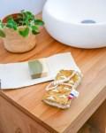 Pochette à savon en coton enduit, coloris Grue Moutarde - Trinquette Artisanat