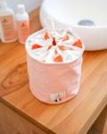 Trousse de toilette ronde en coton bio - coloris rose - Trinquette Artisanat