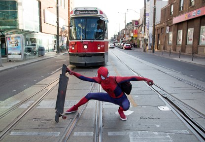 It was surprise and crazy when spiderman suddenly stop in middle of road to pose a photo for me. This is my joy of being a photographer.