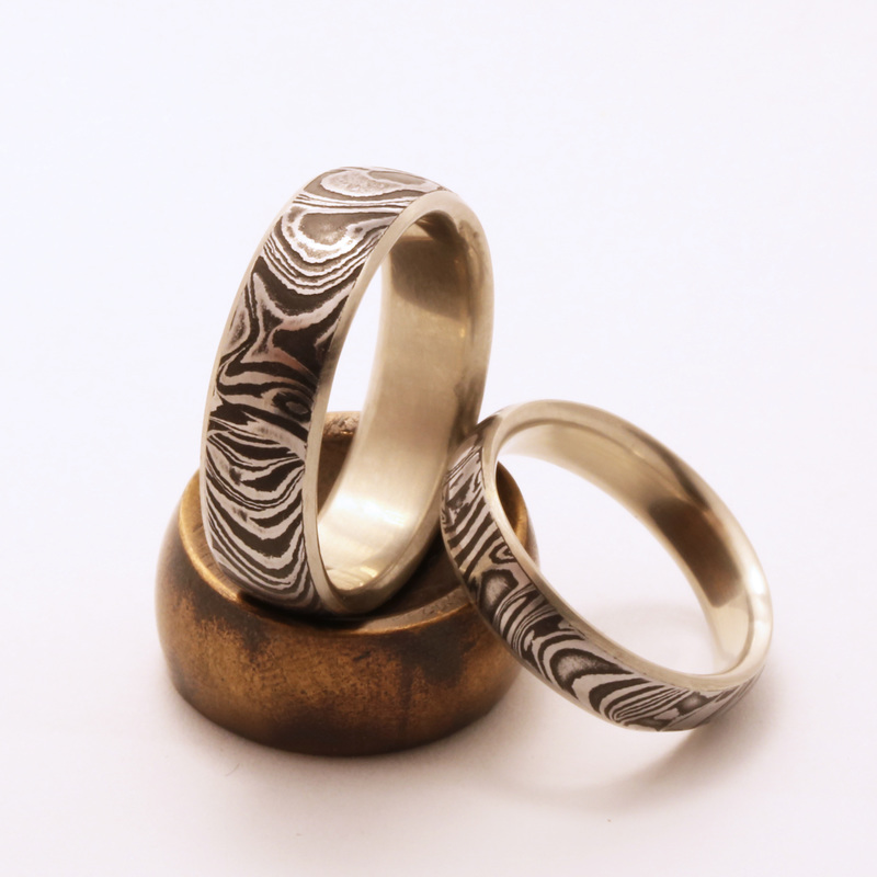 Damascus Steel Wedding Bands Locally Made In Portland OR