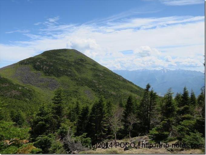 西岳から編笠山を望む