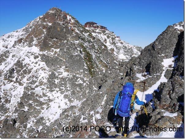 阿弥陀岳から赤岳への登山道(積雪期)